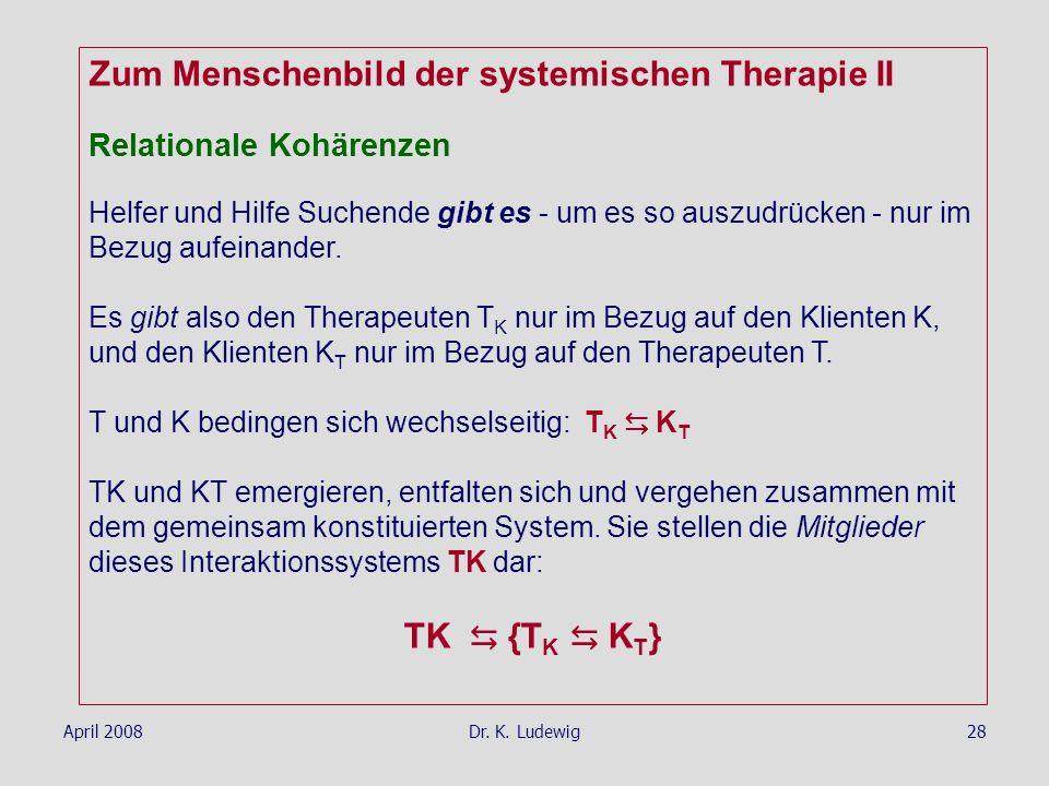 April 2008Dr. K. Ludewig28 Zum Menschenbild der systemischen Therapie II Relationale Kohärenzen Helfer und Hilfe Suchende gibt es - um es so auszudrüc