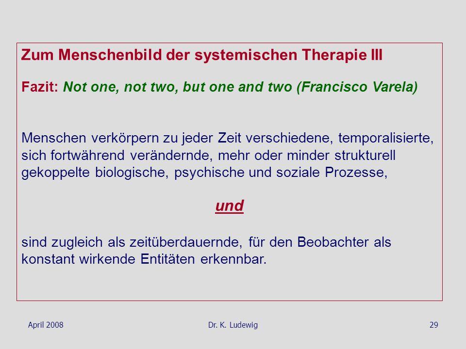 April 2008Dr. K. Ludewig29 Zum Menschenbild der systemischen Therapie III Fazit: Not one, not two, but one and two (Francisco Varela) Menschen verkörp
