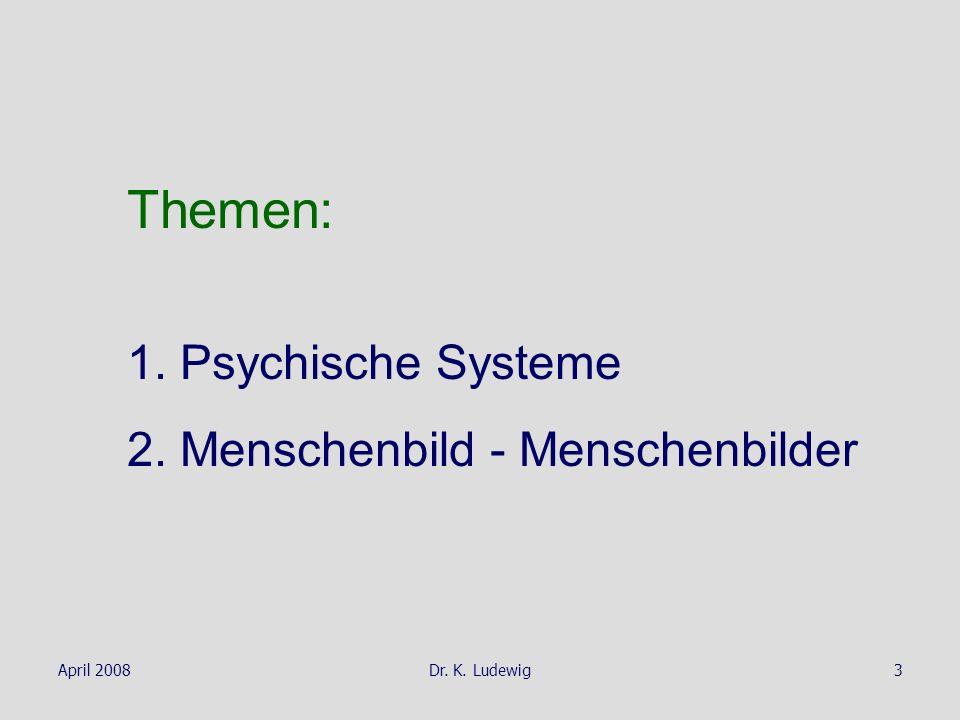 April 2008Dr. K. Ludewig3 Themen: 1. Psychische Systeme 2. Menschenbild - Menschenbilder