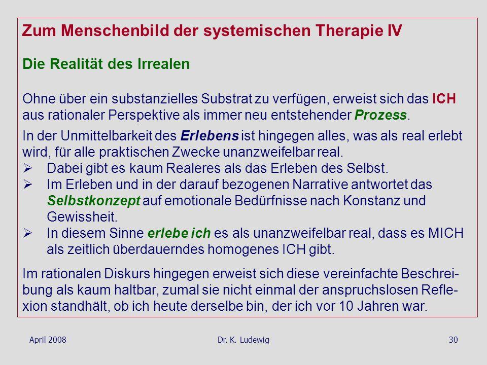 April 2008Dr. K. Ludewig30 Zum Menschenbild der systemischen Therapie IV Die Realität des Irrealen Ohne über ein substanzielles Substrat zu verfügen,
