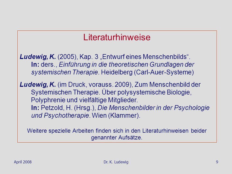 April 2008Dr. K. Ludewig9 Literaturhinweise Ludewig, K. (2005), Kap. 3 Entwurf eines Menschenbilds. In: ders., Einführung in die theoretischen Grundla