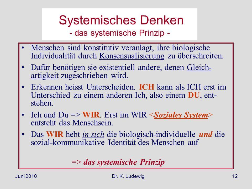 Juni 2010 Dr. K. Ludewig12 Systemisches Denken - das systemische Prinzip - Menschen sind konstitutiv veranlagt, ihre biologische Individualität durch