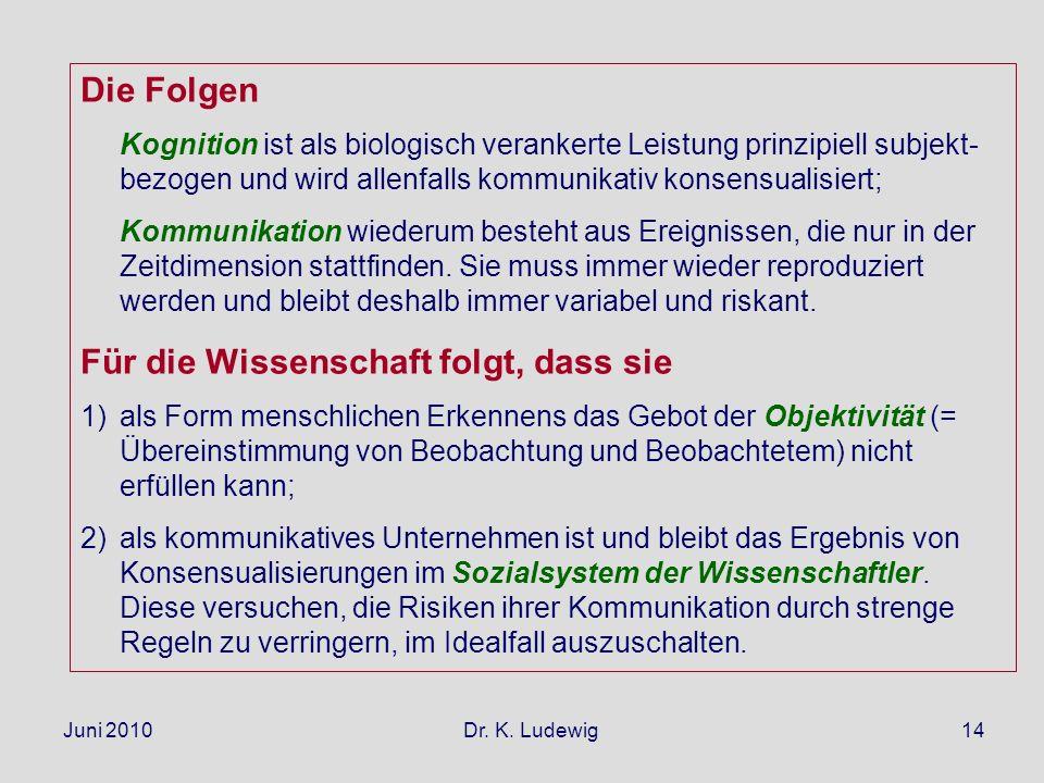 Juni 2010 Dr. K. Ludewig14 Die Folgen Kognition ist als biologisch verankerte Leistung prinzipiell subjekt- bezogen und wird allenfalls kommunikativ k