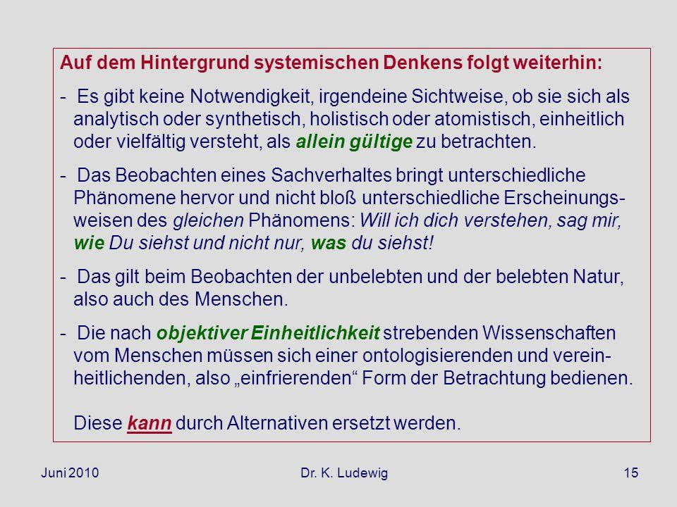 Juni 2010 Dr. K. Ludewig15 Auf dem Hintergrund systemischen Denkens folgt weiterhin: - Es gibt keine Notwendigkeit, irgendeine Sichtweise, ob sie sich