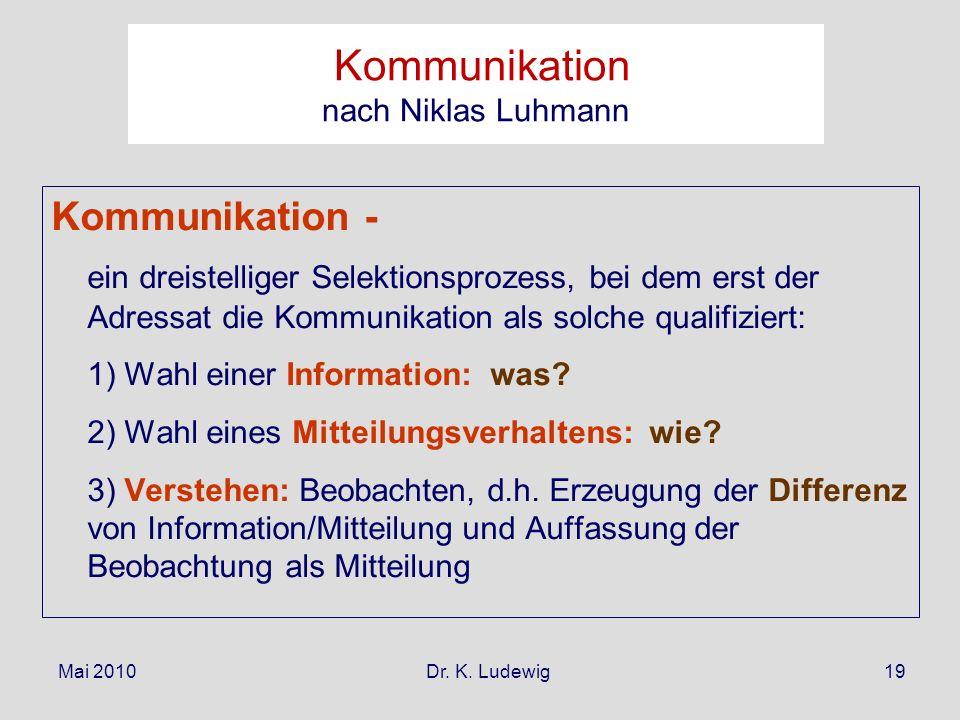 Mai 2010 Dr. K. Ludewig19 Kommunikation - ein dreistelliger Selektionsprozess, bei dem erst der Adressat die Kommunikation als solche qualifiziert: 1)