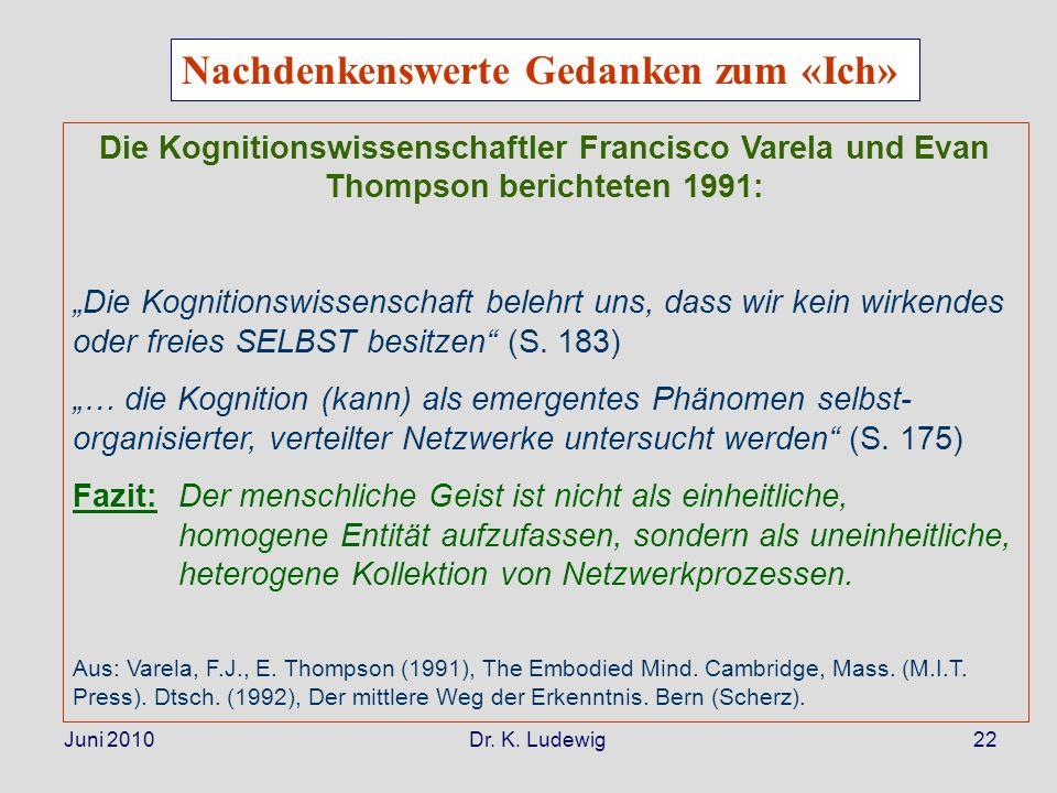 Juni 2010 Dr. K. Ludewig22 Die Kognitionswissenschaftler Francisco Varela und Evan Thompson berichteten 1991: Die Kognitionswissenschaft belehrt uns,