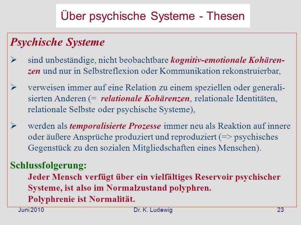Juni 2010 Dr. K. Ludewig23 Psychische Systeme sind unbeständige, nicht beobachtbare kognitiv-emotionale Kohären- zen und nur in Selbstreflexion oder K
