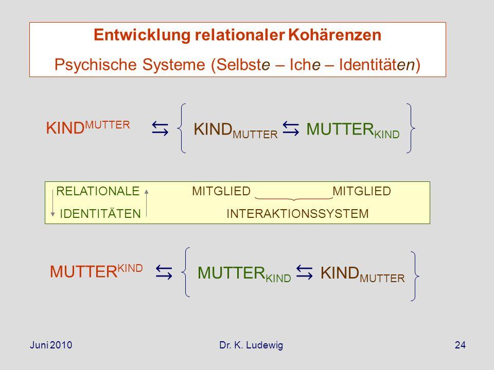 Juni 2010 Dr. K. Ludewig24 KIND MUTTER MUTTER KIND RELATIONALE MITGLIED MITGLIED IDENTITÄTEN INTERAKTIONSSYSTEM MUTTER KIND KIND MUTTER Entwicklung re