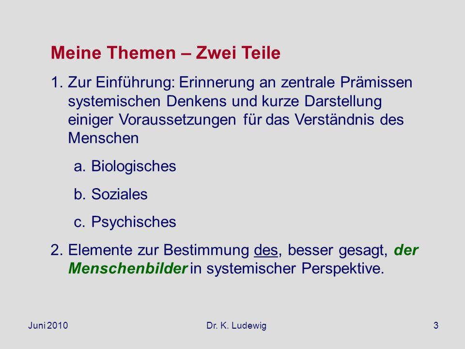 Juni 2010 Dr. K. Ludewig3 Meine Themen – Zwei Teile 1.Zur Einführung: Erinnerung an zentrale Prämissen systemischen Denkens und kurze Darstellung eini