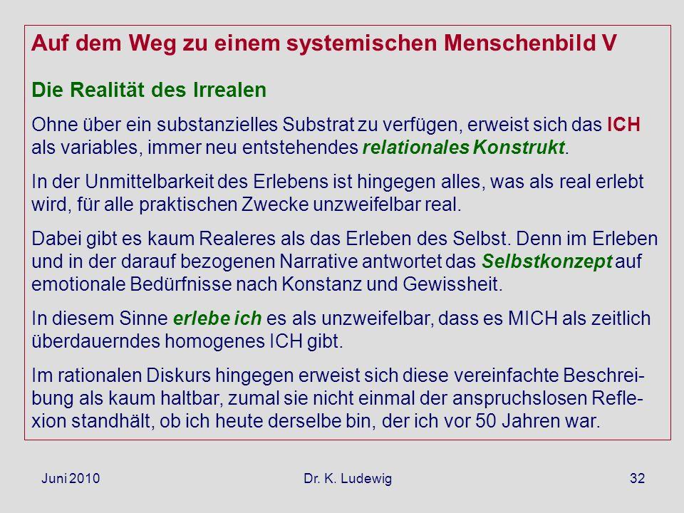 Juni 2010 Dr. K. Ludewig32 Auf dem Weg zu einem systemischen Menschenbild V Die Realität des Irrealen Ohne über ein substanzielles Substrat zu verfüge