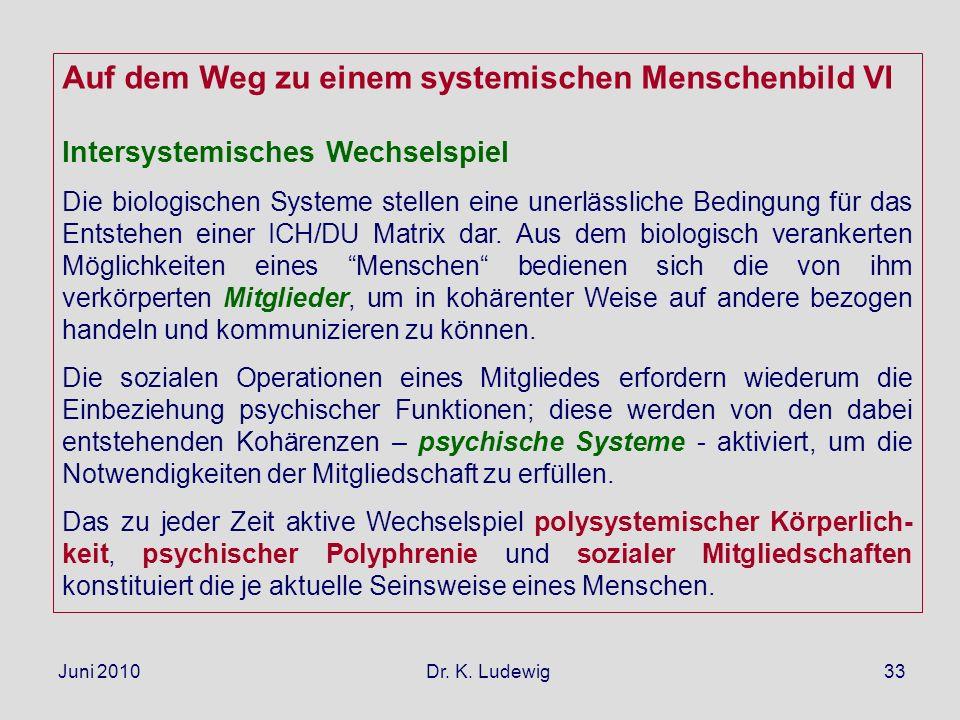 Juni 2010 Dr. K. Ludewig33 Auf dem Weg zu einem systemischen Menschenbild VI Intersystemisches Wechselspiel Die biologischen Systeme stellen eine uner