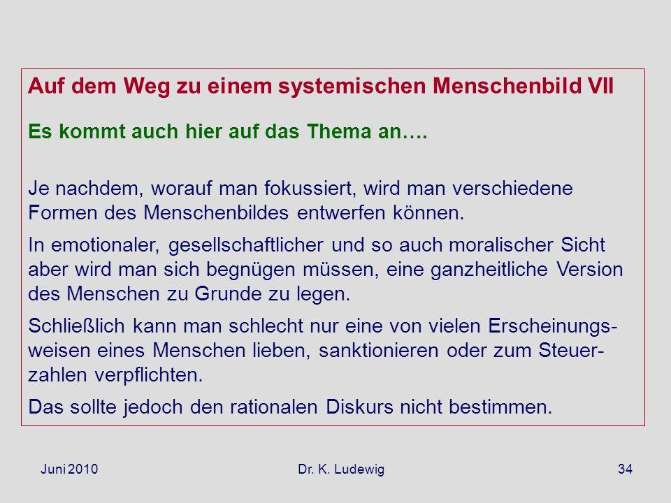 Juni 2010 Dr. K. Ludewig34 Auf dem Weg zu einem systemischen Menschenbild VII Es kommt auch hier auf das Thema an…. Je nachdem, worauf man fokussiert,