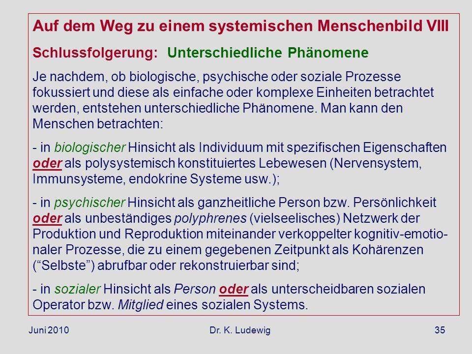 Juni 2010 Dr. K. Ludewig35 Auf dem Weg zu einem systemischen Menschenbild VIII Schlussfolgerung: Unterschiedliche Phänomene Je nachdem, ob biologische