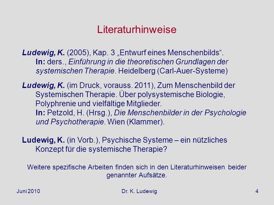 Juni 2010 Dr. K. Ludewig4 Literaturhinweise Ludewig, K. (2005), Kap. 3 Entwurf eines Menschenbilds. In: ders., Einführung in die theoretischen Grundla