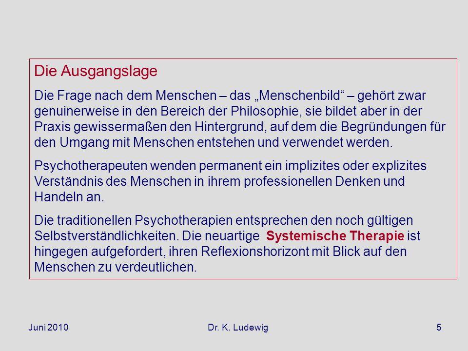Juni 2010 Dr. K. Ludewig5 Die Ausgangslage Die Frage nach dem Menschen – das Menschenbild – gehört zwar genuinerweise in den Bereich der Philosophie,