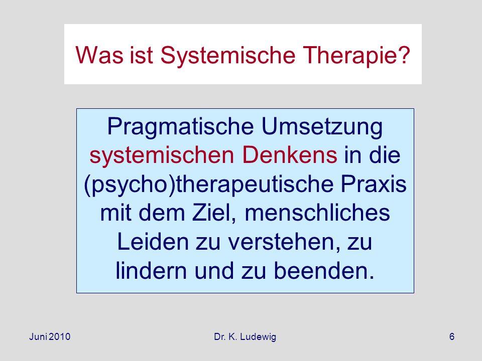 Juni 2010 Dr. K. Ludewig6 Was ist Systemische Therapie? Pragmatische Umsetzung systemischen Denkens in die (psycho)therapeutische Praxis mit dem Ziel,