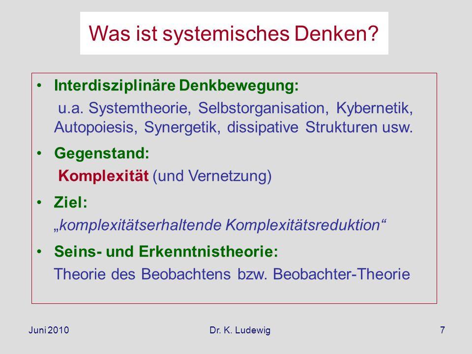 Juni 2010 Dr. K. Ludewig7 Interdisziplinäre Denkbewegung: u.a. Systemtheorie, Selbstorganisation, Kybernetik, Autopoiesis, Synergetik, dissipative Str