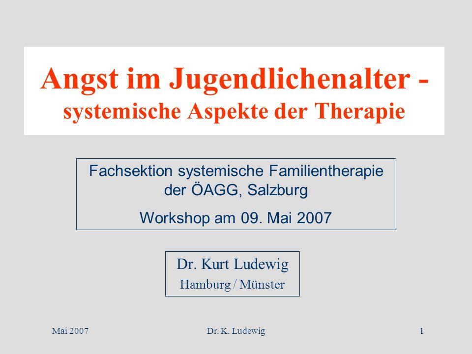 Mai 2007Dr. K. Ludewig1 Angst im Jugendlichenalter - systemische Aspekte der Therapie Dr. Kurt Ludewig Hamburg / Münster Fachsektion systemische Famil