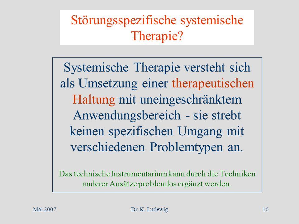 Mai 2007Dr. K. Ludewig10 Störungsspezifische systemische Therapie? Systemische Therapie versteht sich als Umsetzung einer therapeutischen Haltung mit