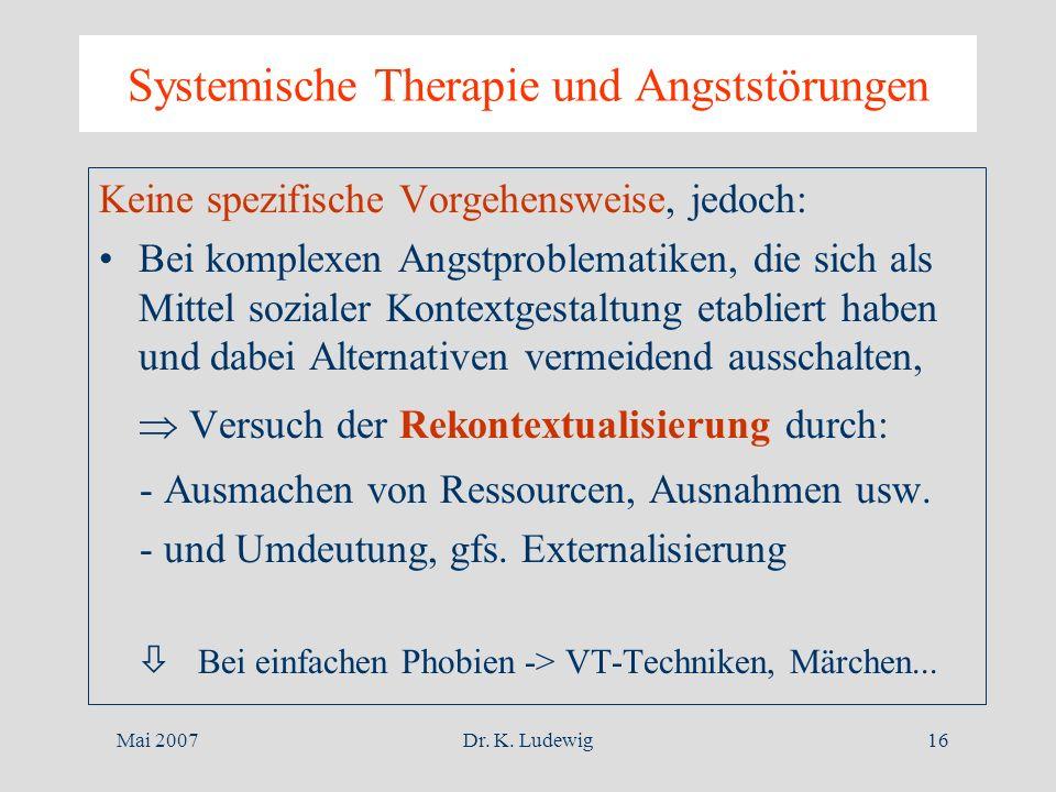 Mai 2007Dr. K. Ludewig16 Systemische Therapie und Angststörungen Keine spezifische Vorgehensweise, jedoch: Bei komplexen Angstproblematiken, die sich