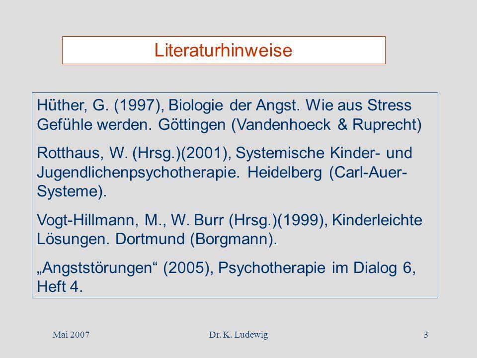 Mai 2007Dr. K. Ludewig3 Literaturhinweise Hüther, G. (1997), Biologie der Angst. Wie aus Stress Gefühle werden. Göttingen (Vandenhoeck & Ruprecht) Rot