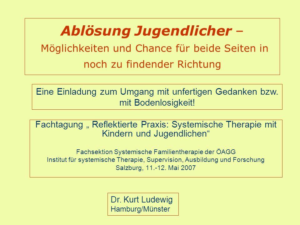 Ablösung Jugendlicher – Möglichkeiten und Chance für beide Seiten in noch zu findender Richtung Fachtagung Reflektierte Praxis: Systemische Therapie m