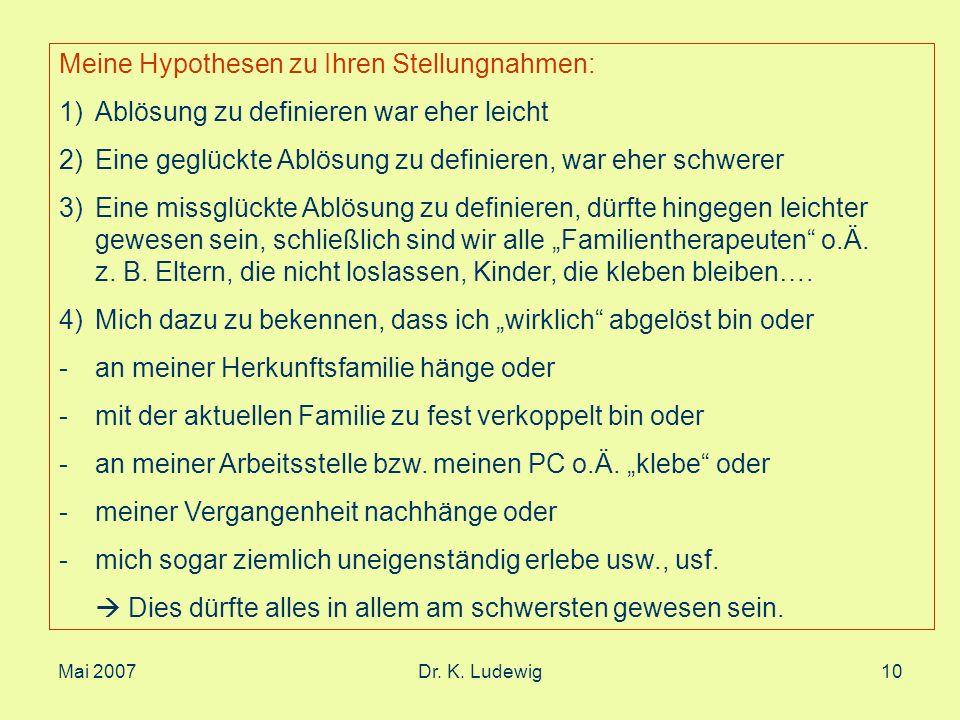 Mai 2007Dr. K. Ludewig10 Meine Hypothesen zu Ihren Stellungnahmen: 1)Ablösung zu definieren war eher leicht 2)Eine geglückte Ablösung zu definieren, w