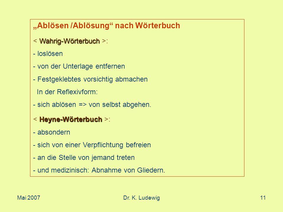 Mai 2007Dr. K. Ludewig11 Ablösen /Ablösung nach Wörterbuch Wahrig-Wörterbuch : - loslösen - von der Unterlage entfernen - Festgeklebtes vorsichtig abm