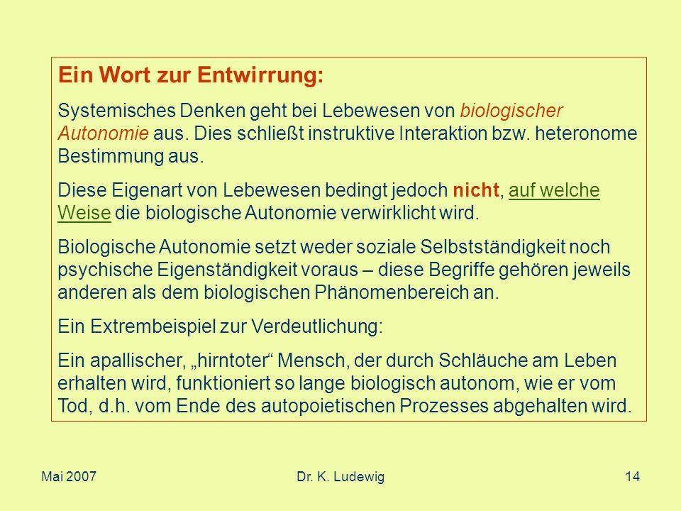 Mai 2007Dr. K. Ludewig14 Ein Wort zur Entwirrung: Systemisches Denken geht bei Lebewesen von biologischer Autonomie aus. Dies schließt instruktive Int