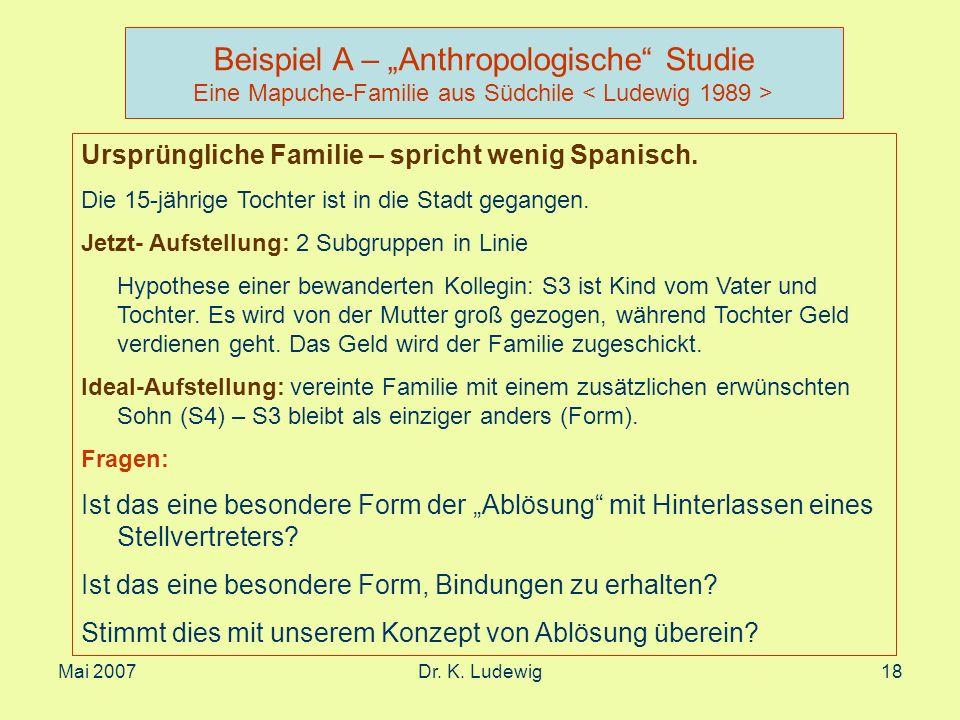 Mai 2007Dr. K. Ludewig18 Beispiel A – Anthropologische Studie Eine Mapuche-Familie aus Südchile Ursprüngliche Familie – spricht wenig Spanisch. Die 15