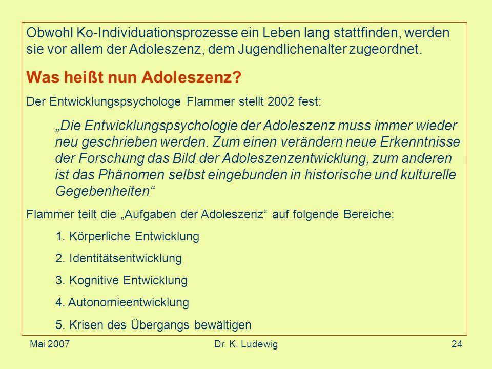 Mai 2007Dr. K. Ludewig24 Obwohl Ko-Individuationsprozesse ein Leben lang stattfinden, werden sie vor allem der Adoleszenz, dem Jugendlichenalter zugeo