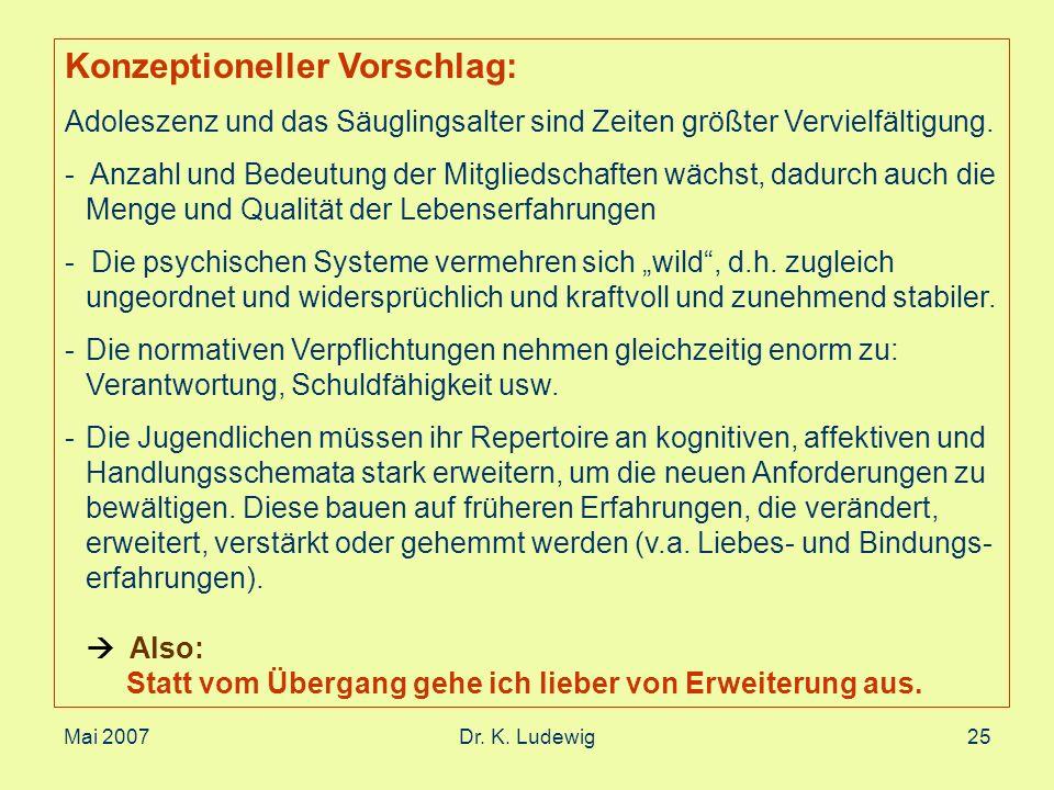 Mai 2007Dr. K. Ludewig25 Konzeptioneller Vorschlag: Adoleszenz und das Säuglingsalter sind Zeiten größter Vervielfältigung. - Anzahl und Bedeutung der