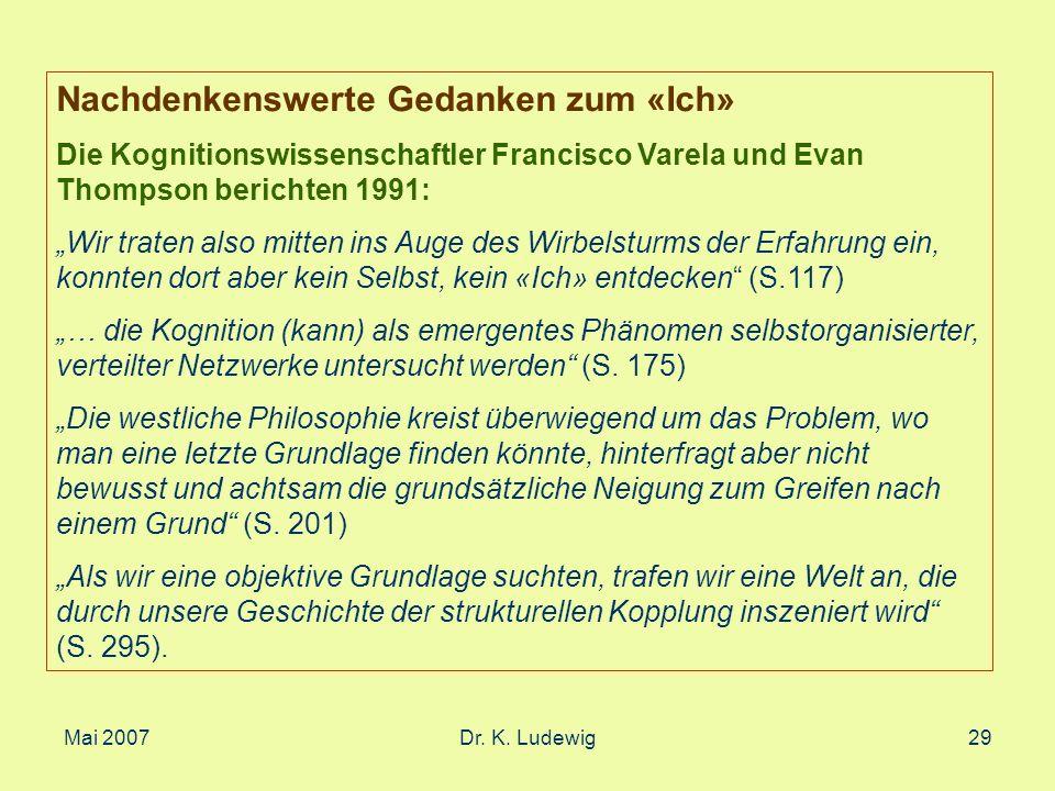 Mai 2007Dr. K. Ludewig29 Nachdenkenswerte Gedanken zum «Ich» Die Kognitionswissenschaftler Francisco Varela und Evan Thompson berichten 1991: Wir trat