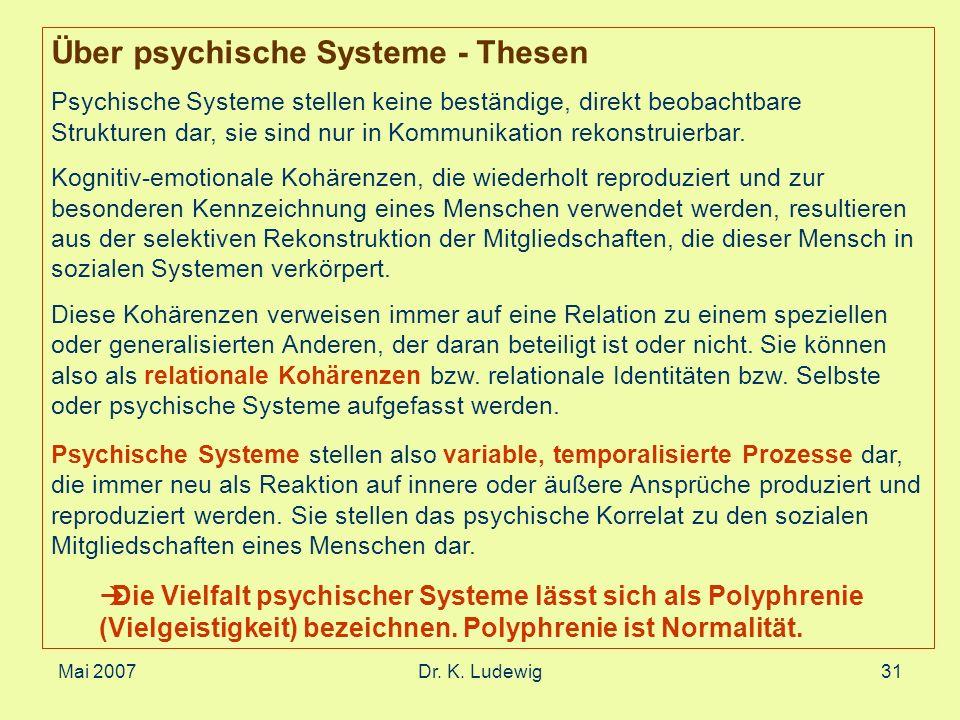 Mai 2007Dr. K. Ludewig31 Über psychische Systeme - Thesen Psychische Systeme stellen keine beständige, direkt beobachtbare Strukturen dar, sie sind nu