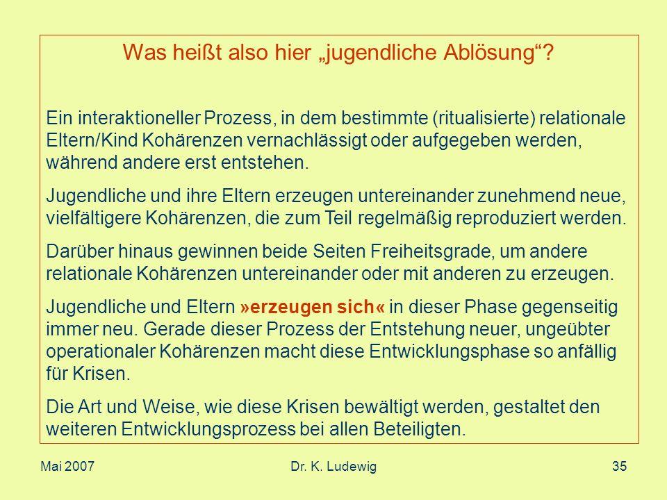 Mai 2007Dr. K. Ludewig35 Was heißt also hier jugendliche Ablösung? Ein interaktioneller Prozess, in dem bestimmte (ritualisierte) relationale Eltern/K