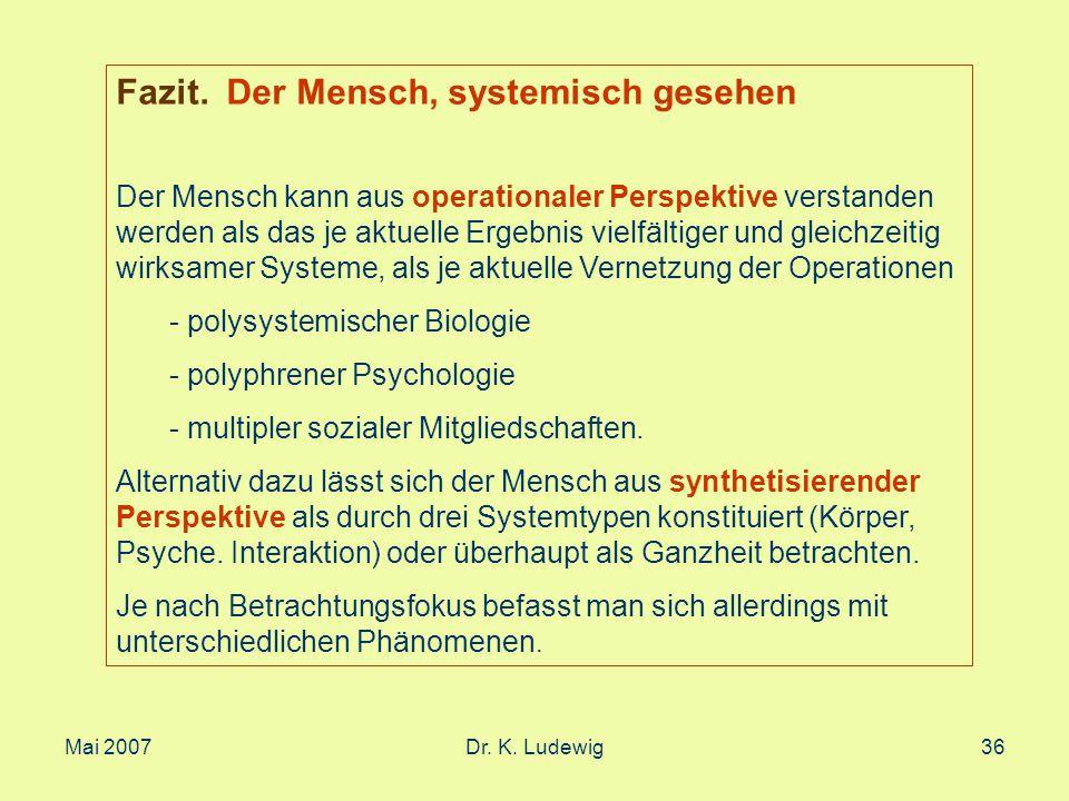 Mai 2007Dr. K. Ludewig36 Fazit. Der Mensch, systemisch gesehen Der Mensch kann aus operationaler Perspektive verstanden werden als das je aktuelle Erg