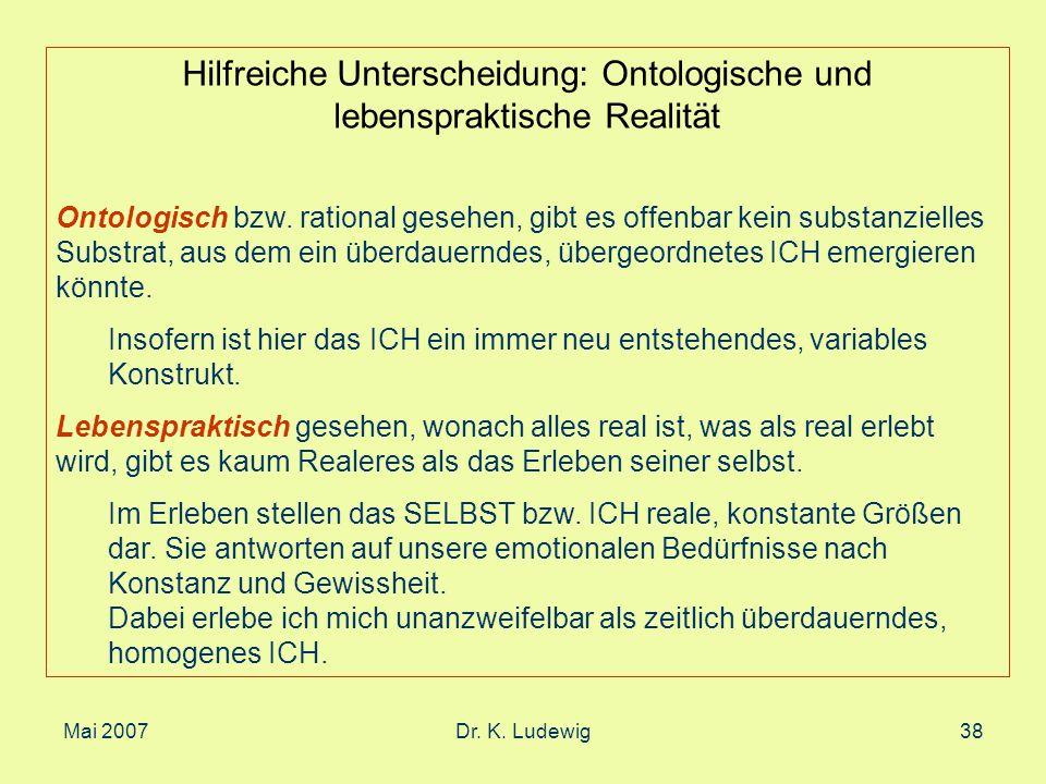 Mai 2007Dr. K. Ludewig38 Hilfreiche Unterscheidung: Ontologische und lebenspraktische Realität Ontologisch bzw. rational gesehen, gibt es offenbar kei