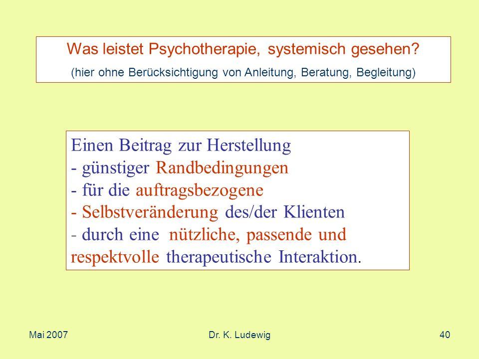 Mai 2007Dr. K. Ludewig40 Was leistet Psychotherapie, systemisch gesehen? (hier ohne Berücksichtigung von Anleitung, Beratung, Begleitung) Einen Beitra