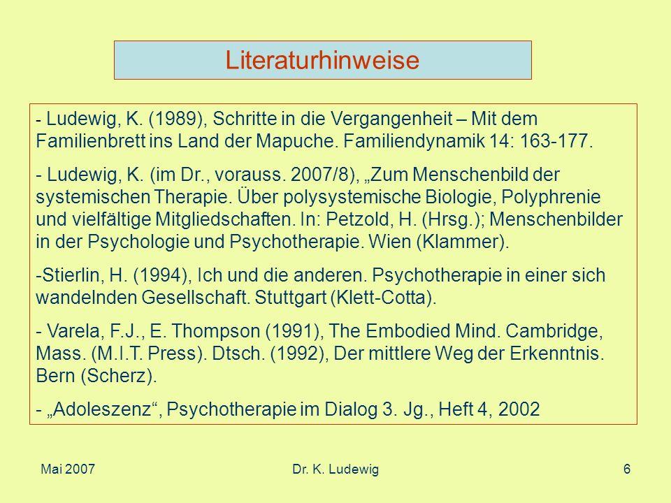 Mai 2007Dr. K. Ludewig27 2. Teil Systemische Gedanken zum Selbst
