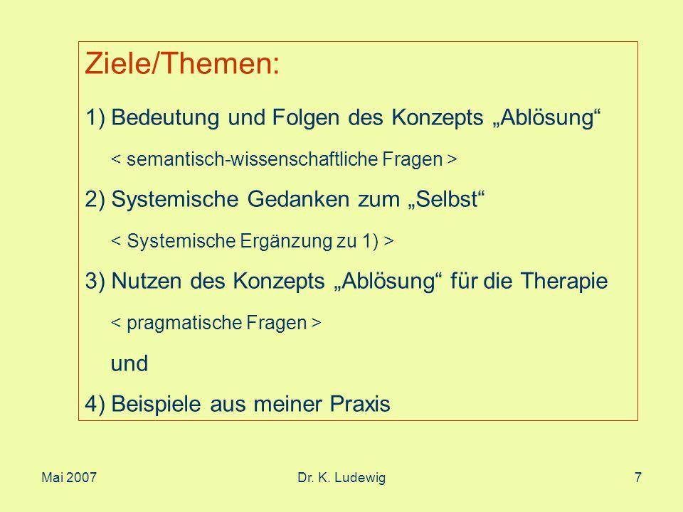 Mai 2007Dr. K. Ludewig7 Ziele/Themen: 1) Bedeutung und Folgen des Konzepts Ablösung 2) Systemische Gedanken zum Selbst 3) Nutzen des Konzepts Ablösung