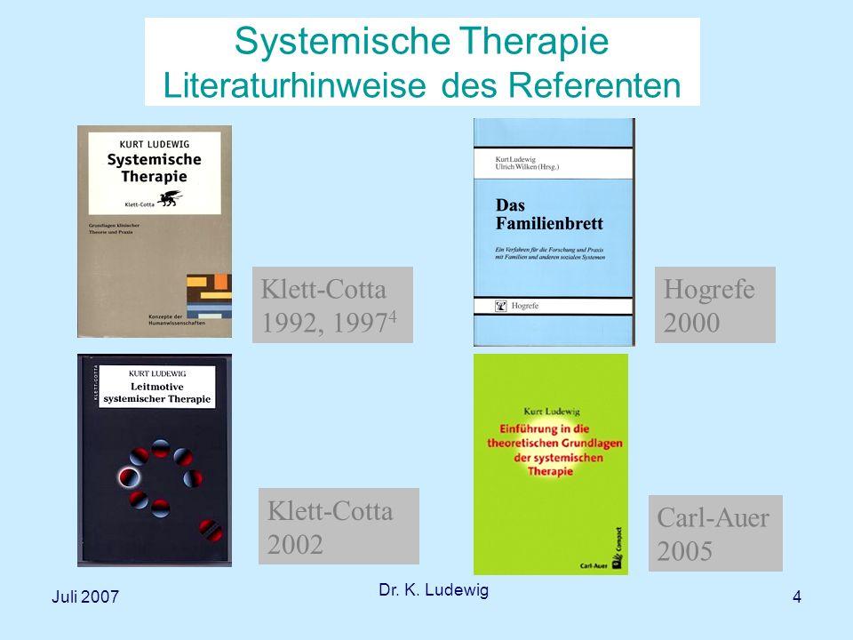 Juli 2007 Dr.K. Ludewig 35 Konzepte systemischer Therapie: Aufgaben des Therapeuten 1.