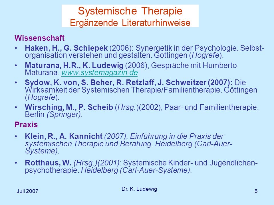 Juli 2007 Dr. K. Ludewig 6 I Was ist systemisch an der systemischen Therapie?