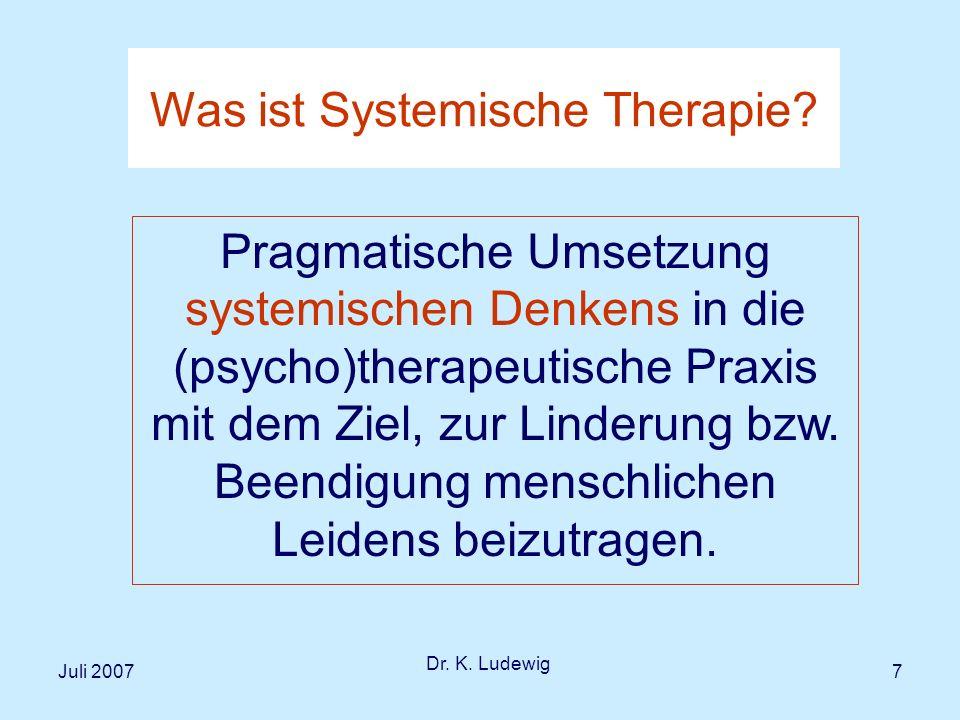 Juli 2007 Dr.K. Ludewig 18 Systeme sind durch ihre Elemente, Relationen und Grenze definiert.