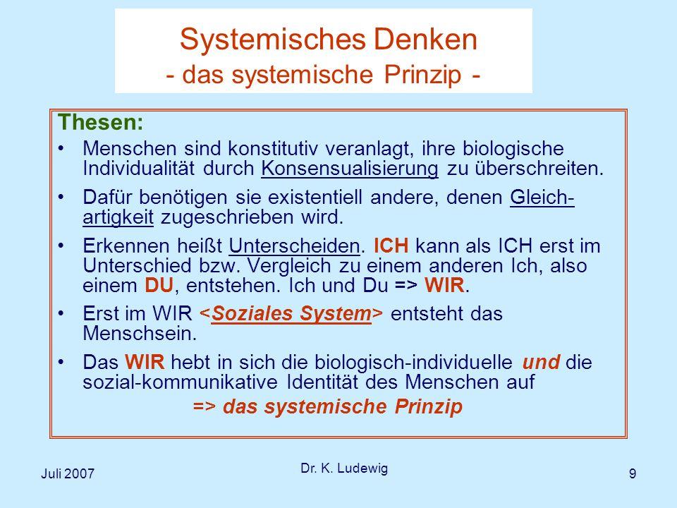 Juli 2007 Dr.K. Ludewig 30 IV Die Bedeutung der therapeutischen Beziehung in der Therapie bzw.