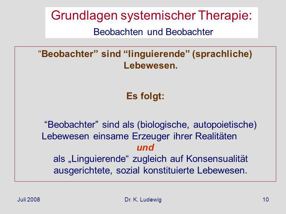 Juli 2008Dr. K. Ludewig10 Beobachter sind linguierende (sprachliche) Lebewesen. Es folgt: Beobachter sind als (biologische, autopoietische) Lebewesen