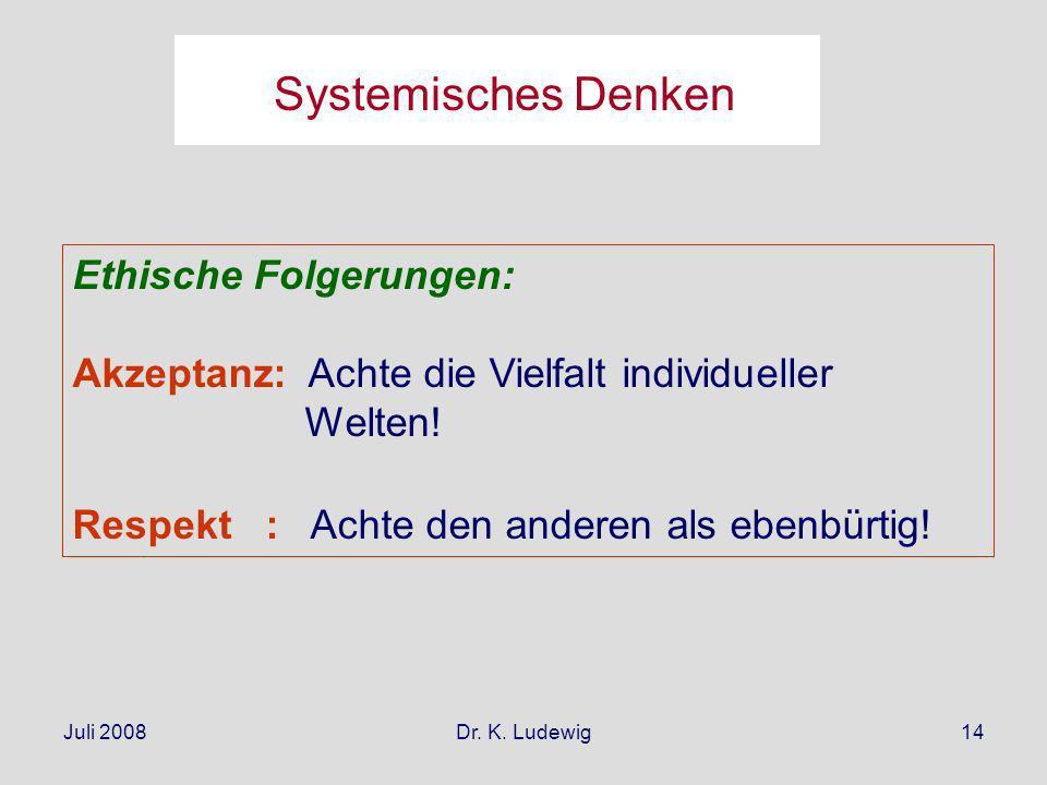 Juli 2008Dr. K. Ludewig14 Ethische Folgerungen: Akzeptanz: Achte die Vielfalt individueller Welten! Respekt : Achte den anderen als ebenbürtig! System
