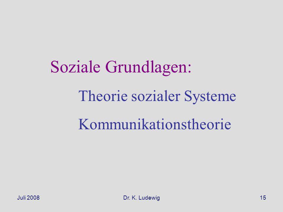Juli 2008Dr. K. Ludewig15 Soziale Grundlagen: Theorie sozialer Systeme Kommunikationstheorie