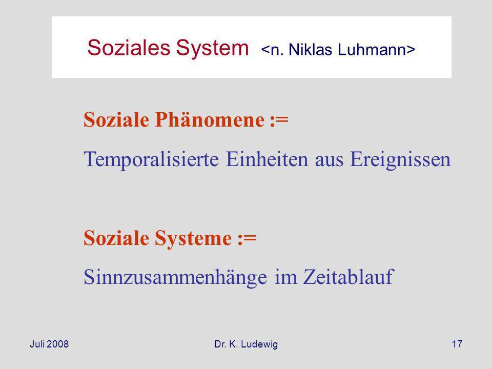 Juli 2008Dr. K. Ludewig17 Soziale Phänomene := Temporalisierte Einheiten aus Ereignissen Soziale Systeme := Sinnzusammenhänge im Zeitablauf Soziales S