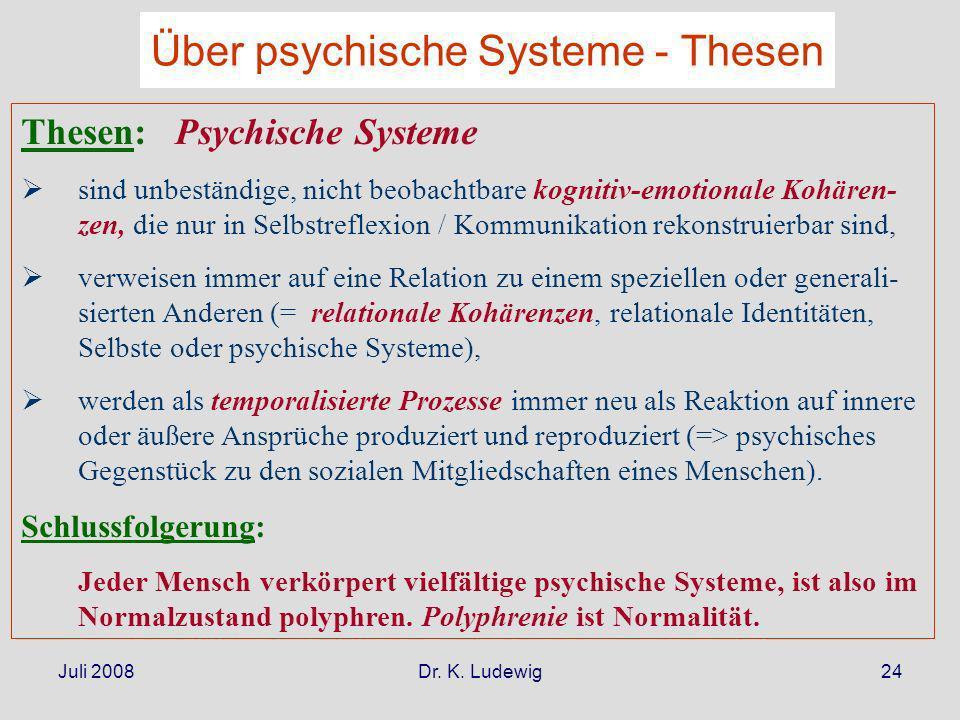 Juli 2008Dr. K. Ludewig24 Thesen: Psychische Systeme sind unbeständige, nicht beobachtbare kognitiv-emotionale Kohären- zen, die nur in Selbstreflexio
