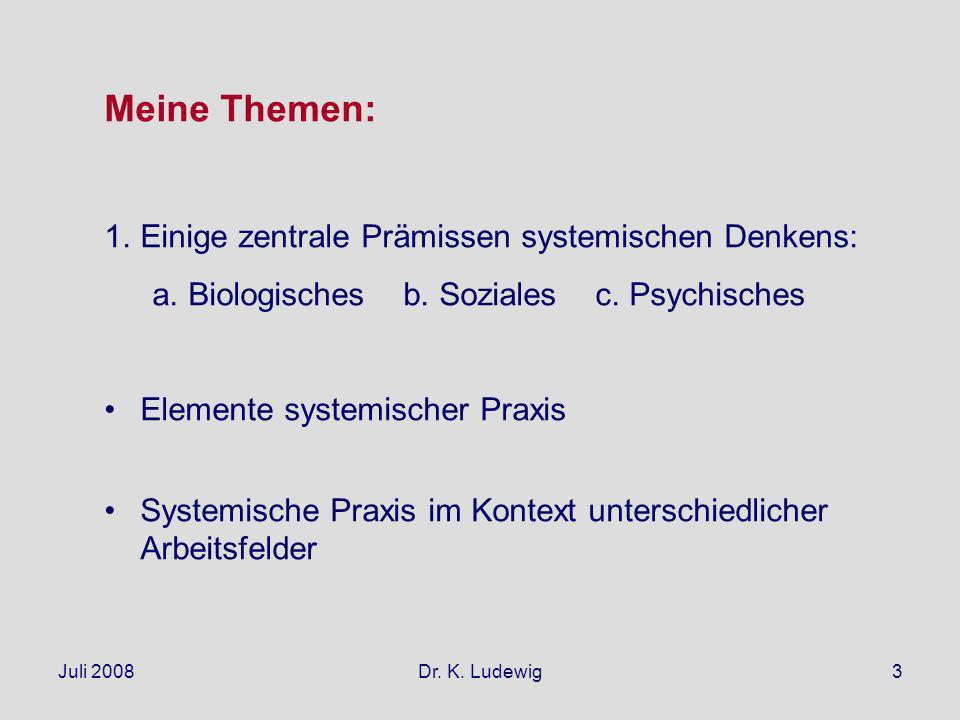 Juli 2008Dr. K. Ludewig3 Meine Themen: 1.Einige zentrale Prämissen systemischen Denkens: a.Biologisches b. Soziales c. Psychisches Elemente systemisch